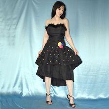schwarze Federn am COCKTAILKLEID* S 36 * Partykleid* 80er Abendkleid* Ballkleid