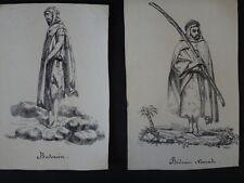 Dessins VACCARI Album africain costumes 1831 Bedouin Alger orientalist nomad XIX