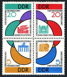 Germany DDR/GDR 617-620a Bl/4,MNH.8th Youth Festival for Peace & Friendship,1962