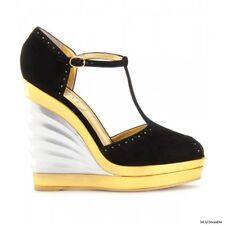YSL SUEDE AND LEATHER T-BAR WEDGE SANDALS. Sz.40 NWT 996$
