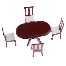 Dollhouse Dining Room Furniture Red Round Table with 4 Chairs Kit 1/12 Scale
