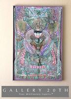 WOW! MID CENTURY GODDESS AMMAVARU WALL ART! PAINTING HINDU VTG MOSAIC MODERN 60S