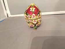 Jeweled Enameled Collectible Red Floral Hinged Footed Egg Trinket Holder
