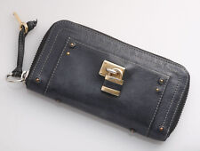G3597 Authentic CHLOE Cadena Genuine Leather Zip-Around Long Wallet