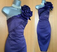 Karen Millen UK 10 Purple Satin Rose Corsage One Shoulder Wiggle Cocktail Dress
