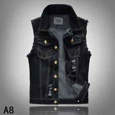 Retro Stylish Mens Casual Jacket Denim Jean Coat Cool Collar Sleeveless Vest New