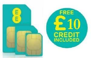 £10 Credit Loaded EE 3 in 1(Standard+Micro+Nano) Pay As You Go SIM Card.