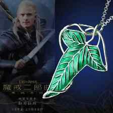 New Lord of The Rings Green Leaf Elven Pin Brooch Pendant Chain Necklace Jewelry