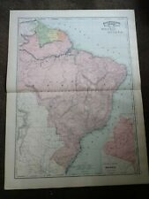 Large Format 1894 Map Of Brazil and Guiana - Nice Colors