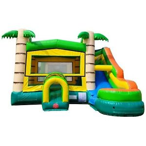 Tropical Modular Commercial Inflatable Water Slide Kids Bounce House With Blower