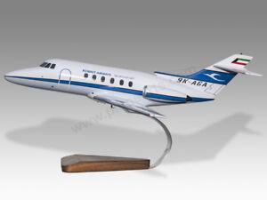 Hawker HS 125-700 Kuwait Airways Solid Mahogany Wood Handmade Desktop Model