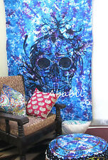 Twin Human Skull Tapestries Hippie Wall Hanging Mandala Tie Dye Decorative Throw