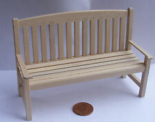 1:12 Scale Natural Finish Wooden Bench Tumdee Dolls House Garden Furniture 144