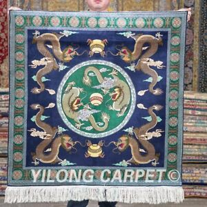YILONG 3'x3' Square Handmade Silk Blue Dragon Carpet Hand Knotted Area Rug 472H