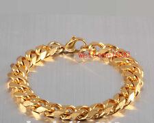 18k Gold Stainless Steel Men's Curb Chain Link bracelet Fashion Bling 8mm 8.5''