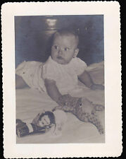Cute Baby with Stuffed Toys Monkey Rabbit 4 1/4 x 5 1/2 b/w Photo Picture