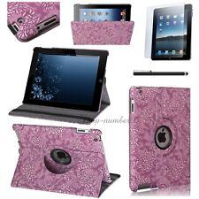 ★360° Schutz Hülle iPad Air 5 Kunstleder Tasche Smart Cover Case Etui Blume-Lila