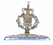 Hand Made MENORAH - - - solid brass vintage antique style jewish chanukah menora