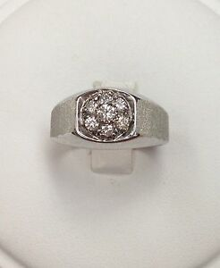 14K White Gold Gents Diamond Cluster Ring Size 10.5