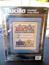 "BUCILLA COUNTED CROSS STITCH KIT  1994 COLLECTABLE TEAPOTS NIP 11X14"" USA"