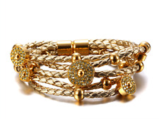 Female Gold Plated Stud Leather Bracelet