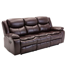Manual Bonded Leather Reclining Sofa Set 3-Seater Couch Living Room Furniture
