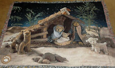 Boyds Bears Christmas Nativity ~ Peace on Earth Tapestry Afghan Throw