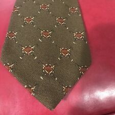 VintGe Polo Ralph Lauren Mens Tie Wool Foxes Hunting Green Brown Hand Made