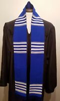 Blue White Graduation Stole, Authentic African Kente made in Ghana