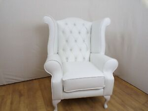 Queen Anne style wing chair in white faux leather
