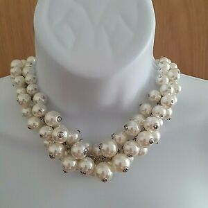 M&S Silver Tone Faux Pearl Cluster Short Statement Necklace - Costume Jewellery
