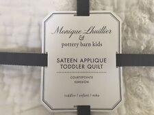 Pottery Barn Kids Monique Lhuillier Sateen Applique toddler Quilt Nwt