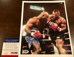 Mike Tyson signed auto PSA DNA 8x10 framed photo Evander Holyfield autographed
