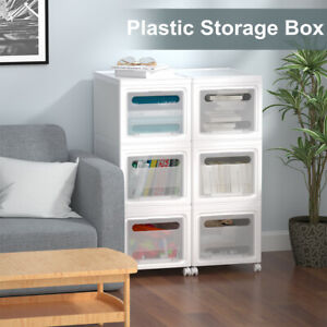 3 Drawer Plastic Storage Rolling Cart Cabinet Clothes Shoe Organizer Container
