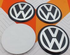 4x 90mm VW Volkswagen Stickre 3D Wheel Center Cap Stickers Aluminum Logo Black