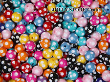 14mm Round Polka Dot Craft Beads Multi Colors 50pc