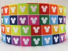 By the Yard 1 Inch Colorful Mickey Heads Grosgrain Ribbon Hair Bows Lisa