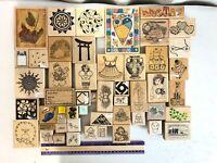 Lot 45+ Rubber Stamp Wood Mount Stampin Up Magenta Hero Arts Dots Denami Design