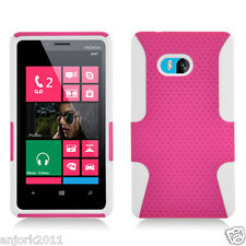 Nokia Lumia 810 T-Mobile Mesh Hybrid Case Skin Cover Accessory Pink White