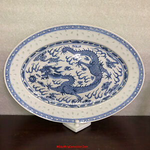 "16""L Chinese Republic Hand Paint Blue & White Porcelain Rice Grain Dragon Plate"