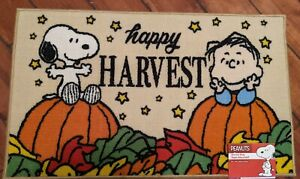 Peanuts Linus & Snoopy Fall Happy Harvest Accent Rug Mat 18x30