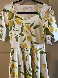 Lularoe Women Nicole Dress Small 🦄 Career Classic White Yellow Lemons 🍋 New **