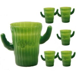 Cactus Cup Set of 6 Plastic Green Party Gift Novelty Drinkware Collector Rango