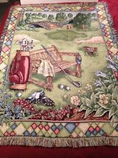 """Tapestry Golf Course Throw Blanket 45"""" X 63"""" Multi-Color Clubs Floral Bridge EUC"""