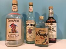 Set of 4 Empty Bottles - Captain Morgan 1.75L, Ronrico, Denros Bounty & Seagrams
