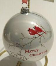 "GANZ Christmas Ball Ornament Cardinal Red Birds on Limb ""Merry Christmas"" NEW"