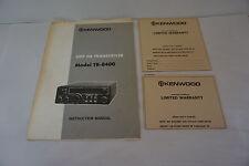 Original Kenwood Tr-8400 Instruction Manual With Oem Warranty Card