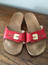 Vintage Dr. Scholls Red Wood Exercise Sandals Made in Austria Size 6