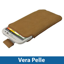 Marrone Vera Pelle Pouch per HTC Sensation XL Android Custodia Cover Protezione