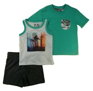 P.S. from Aeropostale Boys Green 3pc Short Set Size 4 5 6 7 8 10 12 14
